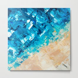 Deep | Abstract blue turquoise ocean beach acrylic brushstrokes painting Metal Print