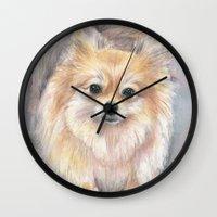 pomeranian Wall Clocks featuring Pomeranian Watercolor Pom Painting by Olechka