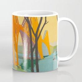 Mid Century Colorful Travel Posters Forth Bridge British Railways Coffee Mug