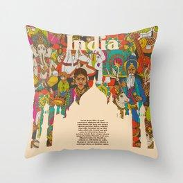 India cultural symbols patterns poster Throw Pillow