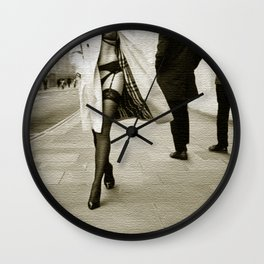 trench coat and lingerie Wall Clock