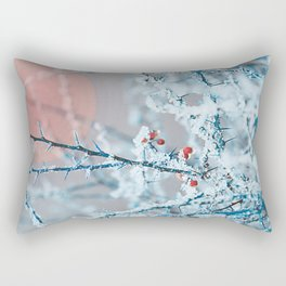 Snowy twigs and berries Rectangular Pillow