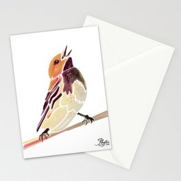 Watercolor Song bird // Wildlife Yellow Meadow Lark // White Background Stationery Cards