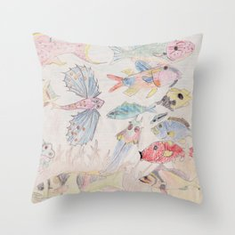 Seychelles Fish 2 Throw Pillow