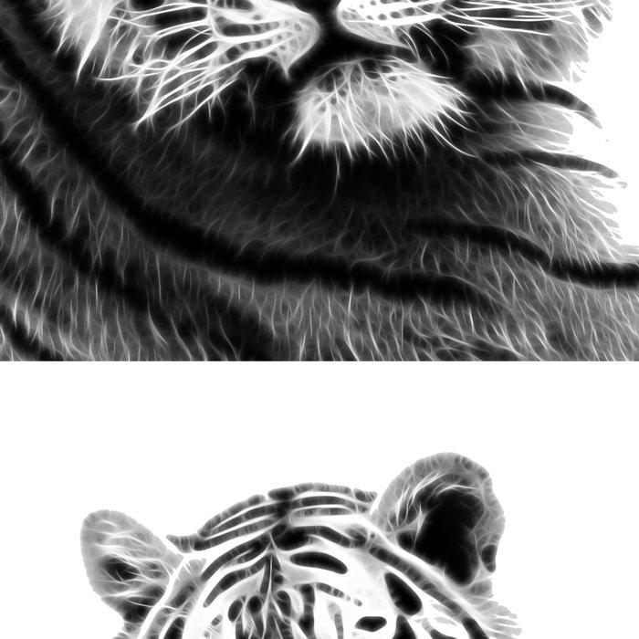 Black and white fractal tiger Leggings