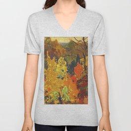 Canadian Landscape Oil Painting Franklin Carmichael Art Nouveau Post-Impressionism Autumn Unisex V-Neck