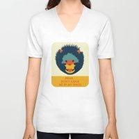 hedgehog V-neck T-shirts featuring Hedgehog by Ariel Wilson