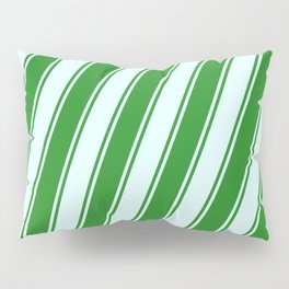 Forest Green and Light Cyan Colored Lines/Stripes Pattern Pillow Sham