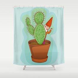 fairytale dwarf with cactus Shower Curtain