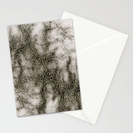 Gray Marble Pattern Black And Silver Vined Stationery Cards