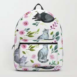 Watercolor Cats and Flowers Pattern Backpack