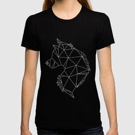 Geometric Wolf (White on Grey) T-shirt