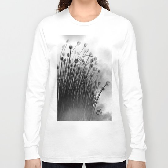 Black Lily Flowers Long Sleeve T-shirt