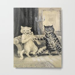 Cats On A Couch - Louis Wain Cats Metal Print