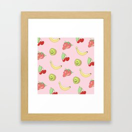 Pink Fruit Pattern Framed Art Print