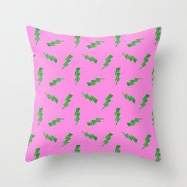 Green Glitter Lightning Bolts in Pink Throw Pillow