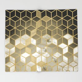 Shades Of Gold Cubes Pattern Throw Blanket