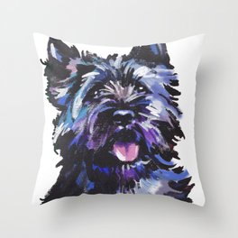 Fun Black Cairn Terrier bright colorful Pop Art Dog Portrait by LEA Throw Pillow