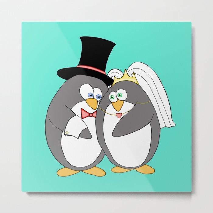 Penguin Married Love Turquoise Metal Print
