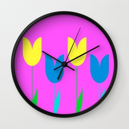 Tulips In Spring Time - Blue & Yellow on Bright Pink 3 Wall Clock