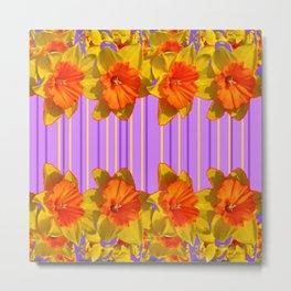 Orange-Yellow Daffodils Lilac Vision Metal Print