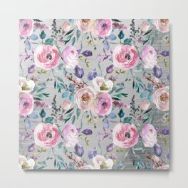 Botanical pink violet lilac hand painted floral Metal Print