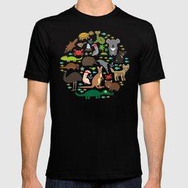 Animals Australia: Echidna Platypus ostrich Emu Tasmanian devil Cockatoo parrot Wombat snake turtle T-shirt