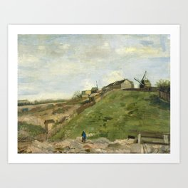The hill of Montmartre with stone quarry by Vincent van Gogh Art Print