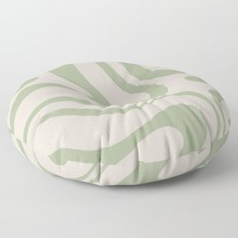 Liquid Swirl Abstract Pattern in Almond and Sage Green Floor Pillow