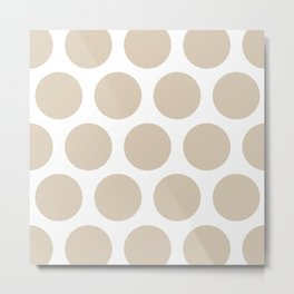 Large Polka Dots: Beige Metal Print