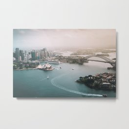 Sydney Opera House Harbour Bridge | Australia Aerial Travel Photography Metal Print