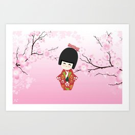 Kokeshi Red Art Print