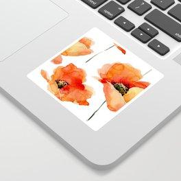 Modern hand painted orange watercolor poppies pattern Sticker