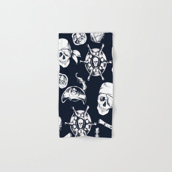 Navy Blue Pirate Pattern Hand & Bath Towel