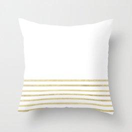 White and Gold Stripes Throw Pillow