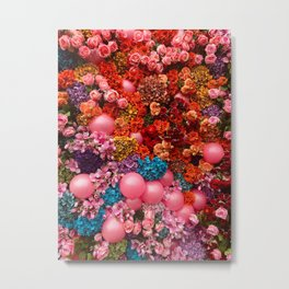 Pink Party Flowers Metal Print