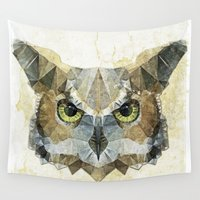 korean Wall Tapestries featuring abstract owl by Ancello