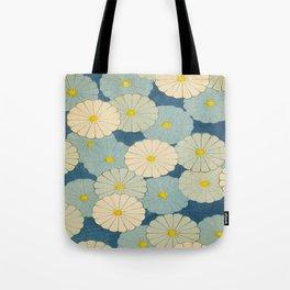 Shin-Bijutsukai – Japanese Design Blue Floral Pattern Tote Bag