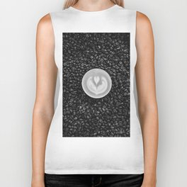 Coffee Beans (Black and White) Biker Tank
