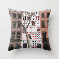 house of cards Throw Pillows featuring House of Cards by AdamSteve