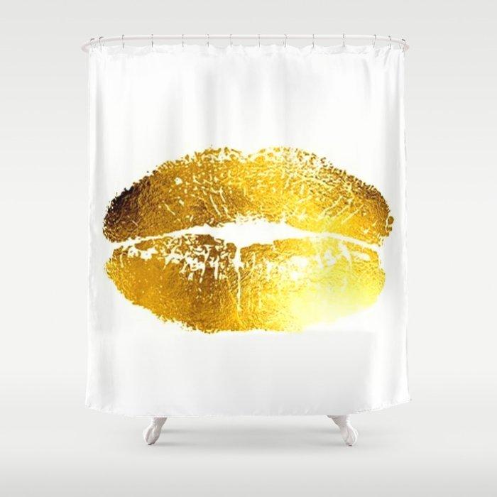 Lips Gold Shower Curtain