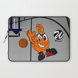 Basketball Cartoon Character Performing a Flying Pass Laptop Sleeve