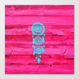 Hipster Teal Dreamcatcher Girly Pink Fuchsia Wood  Canvas Print