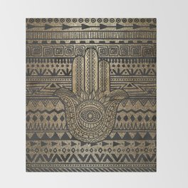 Native Pattern Golden Hamsa Hand Throw Blanket