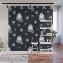 Winter Fox And Snowflakes Wall Mural