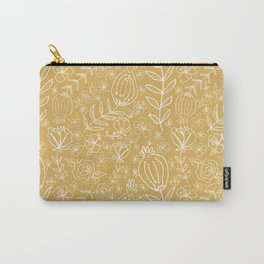 Yellow, Line Drawn Poppies Carry-All Pouch