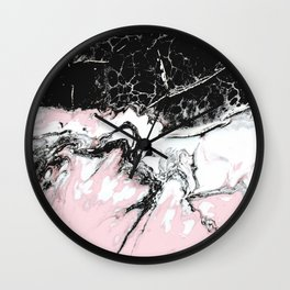pink and black marble Wall Clock
