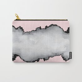Blush Pink Gray and Black Graphic Cloud Effect Carry-All Pouch