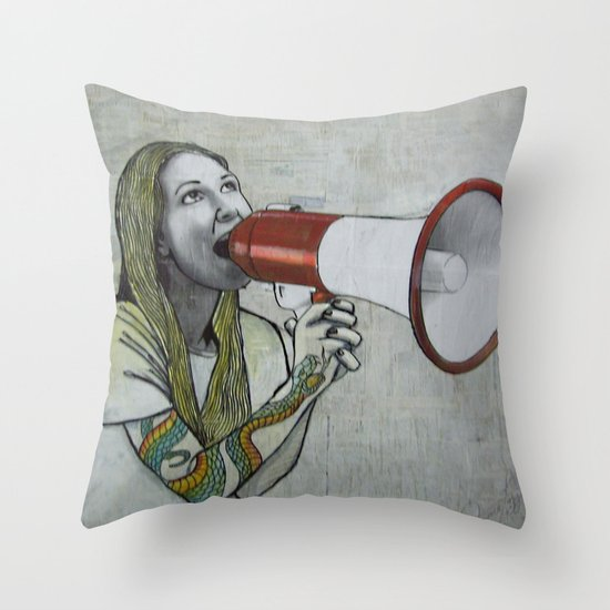 tattoo girl Throw Pillow