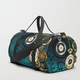 Clock with Gears on Green Background ( Steampunk ) Duffle Bag